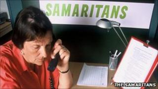 Samaritans counsellor taking a call