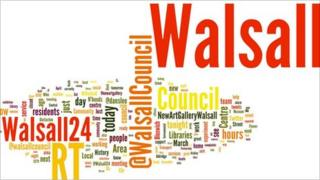 Wordle showing words from Walsall's 24-hour Twitter feed