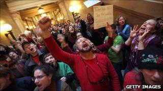 Protesters in Wisconsin's state capitol