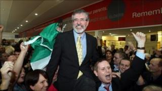 Sinn Fein leader Gerry Adams celebrates election