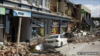 Damaged shops in Manchester Street, Christchurch