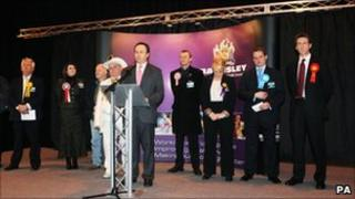 The UKIP candidate in Barnsley (third from right) came second while the Lib Dems came sixth
