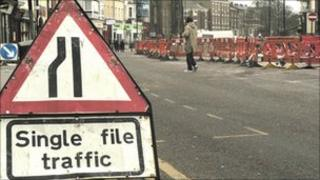 Roadworks in Tynemouth