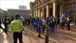 Blues fan parade through Birmingham