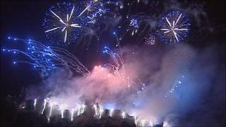 Fireworks above Edinburgh Castle in 2010