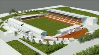 Artists impressions of the refurbished Copthall stadium