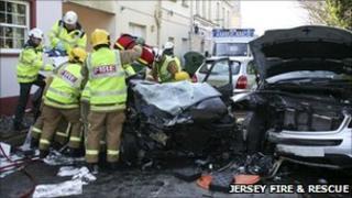 Three car collision in Trinity