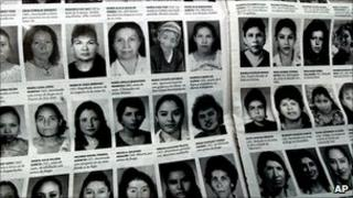 Page from a Guatemalan newspaper showing faces of some of the women killed in 2004