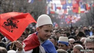 Independence anniversary celebrations in Pristina. 17 Feb 2011