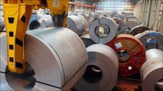Steel at a Corus site in Wednesfield near Wolverhampton