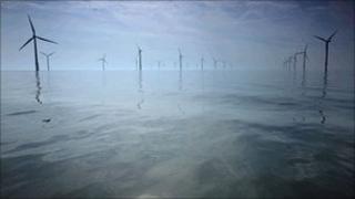 Wind farm in Mersey estuary