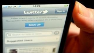 Twitter on a smart phone