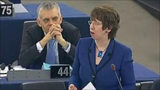 The EU foreign affairs chief, Baroness Ashton, addresses the European Parliament in Brussels, 9 March