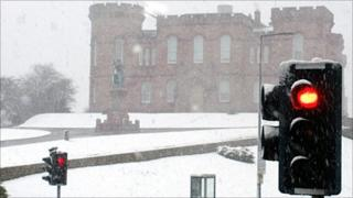 Snow shower in Inverness