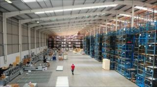 Inside the Trafford Park warehouse