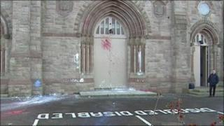 Paint thrown over church