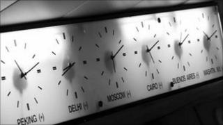 Clocks showing the time around the world