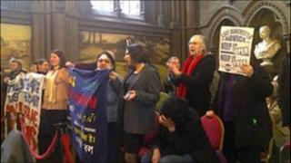 Anti-cuts demo in Manchester Town Hall