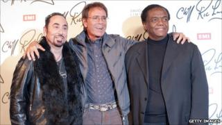 Sir Cliff Richard, (C) music Producer David Gest (L) and Motown legend Lamont Dozier, (R)
