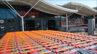 Trolleys outside Checkers supermarket