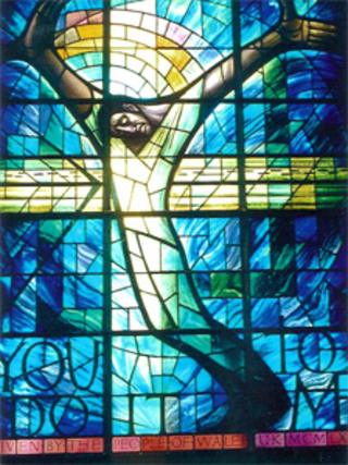 The stained glass window bought by public donation in Wales