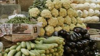 Vegetable market stall, India (Image: AP)