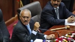 Ali Abdullah Saleh in parliament in Sanaa, 2 Feb