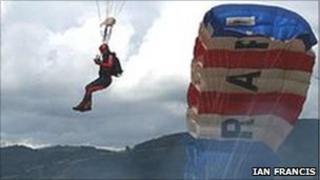 Falcond parachute air display team at Welshpool Air Show in 2008