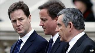 Nick Clegg, David Cameron and Gordon Brown at the time of coalition negotiations