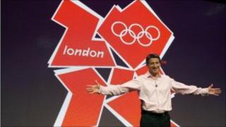 London 2012 Chairman Sebastian Coe in front of the London 2012 Olympic logo