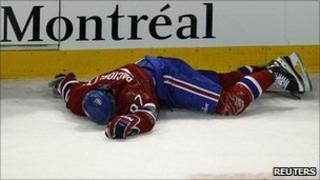 Max Pacioretty lying injured on the ice