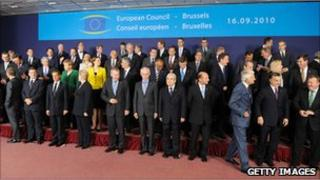 European Union leaders' group photo at a Brussels summit in September 2010