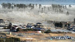 Tsunami hits Natori, Miyagi prefecture, on 11 March 2011