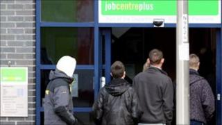 Youths outside a Job Centre