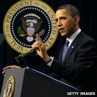 US President Barrack Obama at a news conference in Washington, 11 March 2011