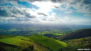 View from Moel Famau, the highest point on the Clwydian Range