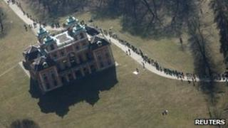 Part of the human chain formed by anti-nuclear protesters at Ludwigsburg castle, Germany, 12 March