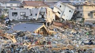 Post-tsunami landscape in Onagawa, Miyagi prefecture, 13 March