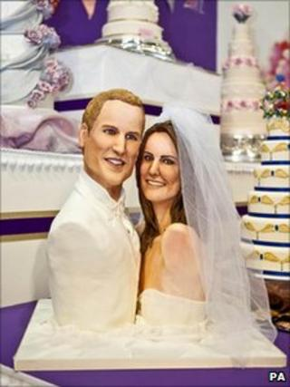 Cake depicting Prince William and Kate Middleton