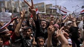 Anti-government protesters in Sanaa, 14 March