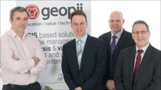 Loughshore Investments' Danny Moore with Ashley Moore, Ian Lamont and Adrian Moore of Geopii