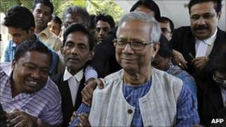 Prof Yunus leaving the High Court earlier this month