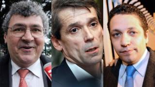 Three wronged Renault executives: Michel Balthazard (L), Bertrand Rochette (C) and Matthieu Tenenbaum
