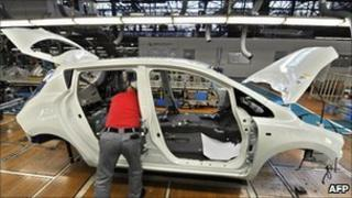 A Nissan Leaf on the production line