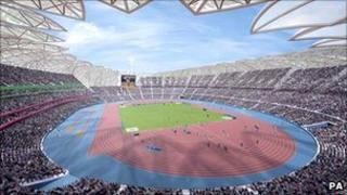 An artist's impression of the main Olympic Stadium