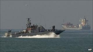 An Israeli naval ship off the coast of Ashdod, Feb 2011