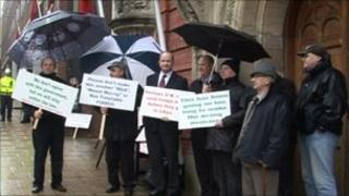 Taxi drivers protest outside Tynwald