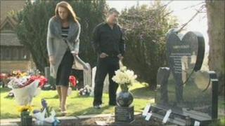 Tina and Jimmy Hedges at their son's graveside