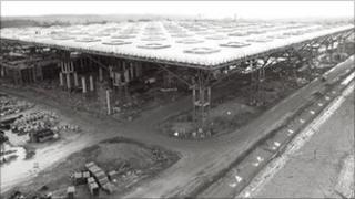 Stansted Airport's terminal building during construction