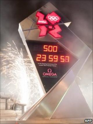 London 2012 countdown clock at Trafalgar Square